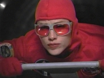 red suit and goggles