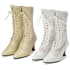 Left: Victorian Leather & Lace Wedding Boots in white, beige or black