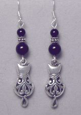 Victorian Cat Dangle Earrings sterling silver & black onyx