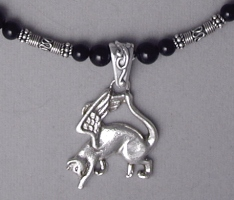 flying cat angel necklace