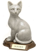 Sitting Cat Figurine pet cremation Urn for Pets