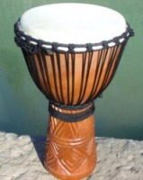 carved wood djembe