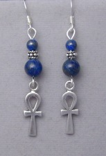 lapis lazuli earrings with sterling silver ankhs