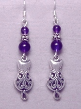 Victorian Cat Dangle Earrings sterling silver & amethyst