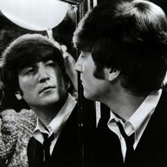 John Lennon and John Lennon in A Hard Day's Night
