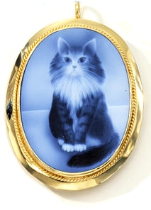 14k gold cat cameo pendant in blue agate (laser etched)