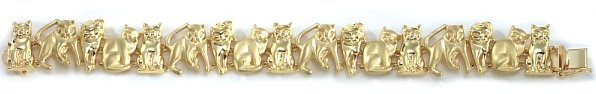 14k matte & shiny gold kittens bracelet 7'' or 8'' cat