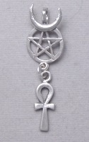 Egyptian Horned Isis Pentacle with Ankh