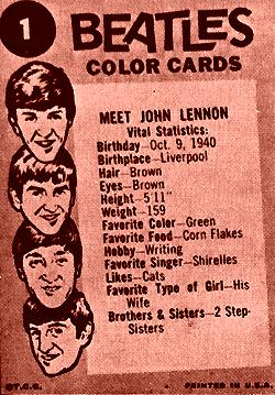 John Lennon Beatle card