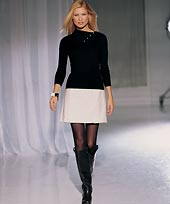 black knee boots pleated mini skirt