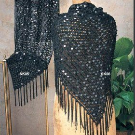 black shawl with sequins and fringe