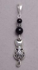 Victorian Cat Pendant in black onyx