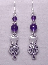 Victorian filigree sterling silver cat earrings