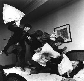 The Beatles have a pillow fight