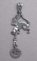 sterling silver flying cat with pentacle and crescent moon